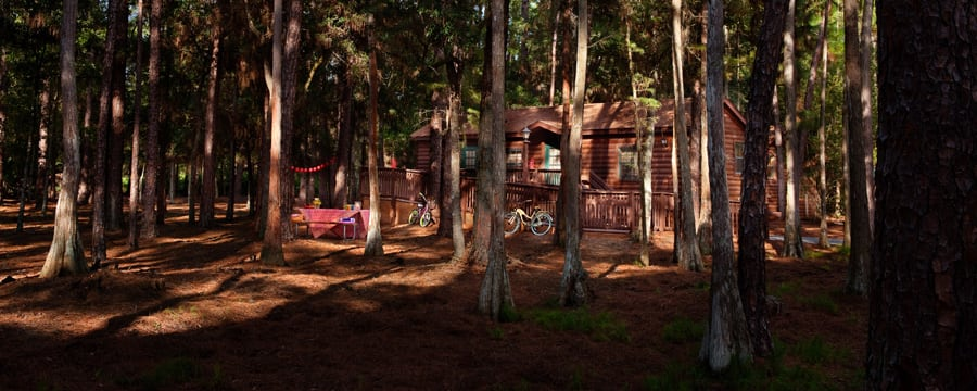 Cabin among the trees at Disney's Fort Wilderness Resort
