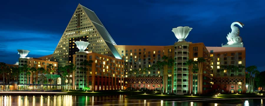 A view of Walt Disney World Dolphin Hotel from Crescent Lake