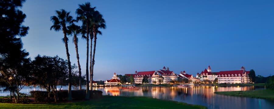 A view of Disney's Grand Floridian Resort & Spa from across Seven Seas Lagoon