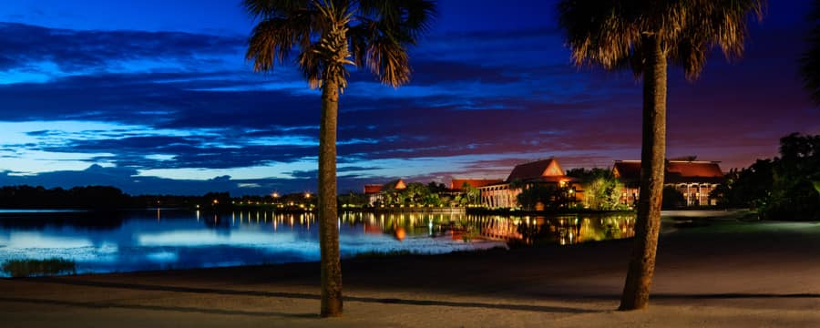 A view of Disney's Polynesian Resort from Seven Seas Lagoon