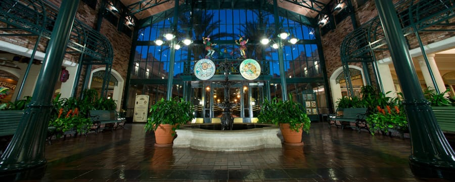 The lobby of The Mint, the main building at Disney's Port Orleans Resort – French Quarter