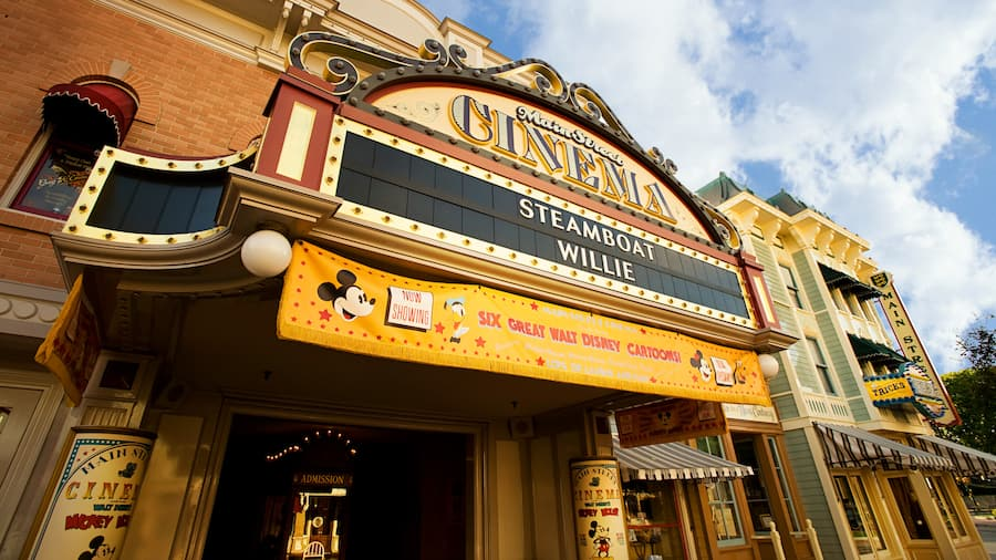 A sign above a building that reads Main Street Cinema Steamboat Willie