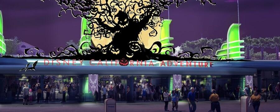 ハロウィーンデコレーションのディズニー・カリフォルニア・アドベンチャー・パークのエントランスにいる人々
