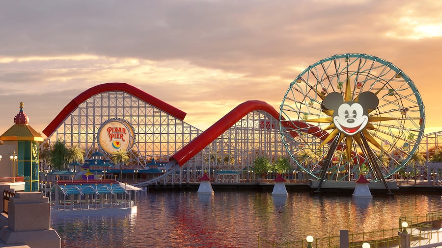Pixar Pier and Pixar-Pal-A-Round featuring Mickey Mouse