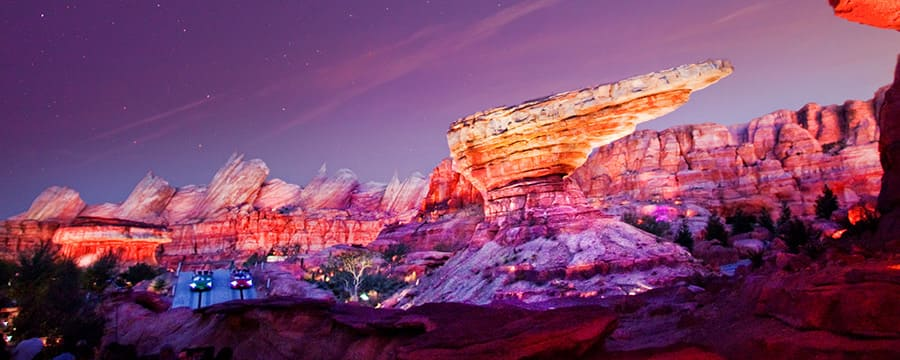Rock formations in Radiator Springs Racers