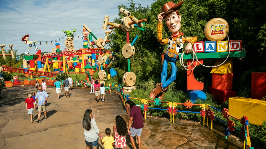 A group of people at the entrance to the new Toy Story Land