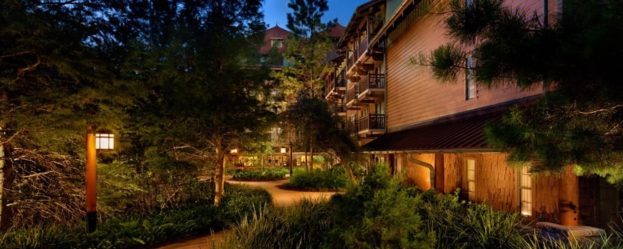A walkway around the Boulder Ridge Villas at Disney's Wilderness Lodge