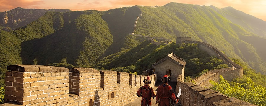 Two guards walking on the Great Wall of China