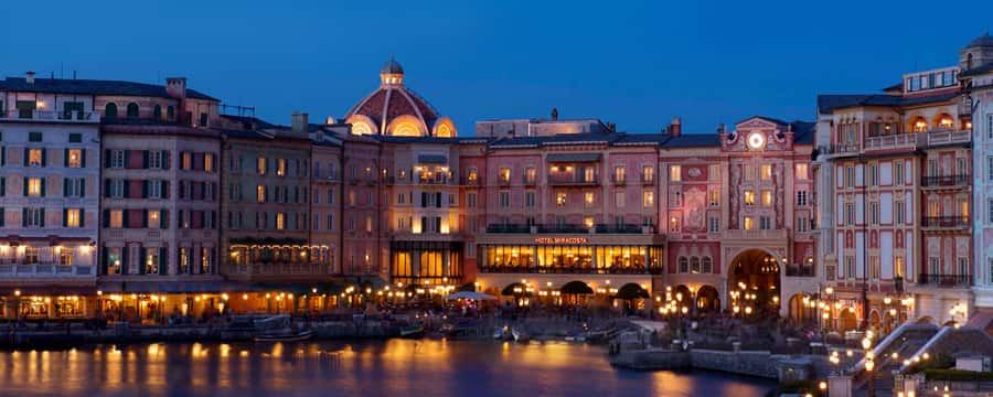 The building exterior and waterfront at Tokyo DisneySea Hotel Miracosta