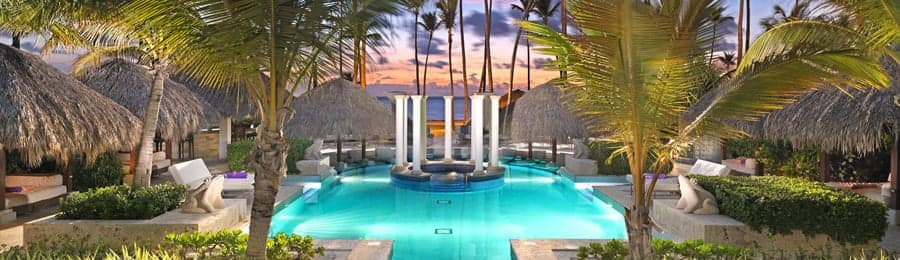 An outdoor pool area at Paradisus Playa Real in the Dominican Republic