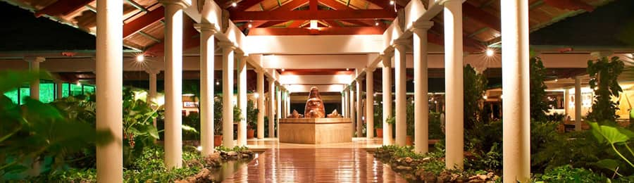 A breezeway and sculpture at Paradisus Punta Cana in the Dominican Republic