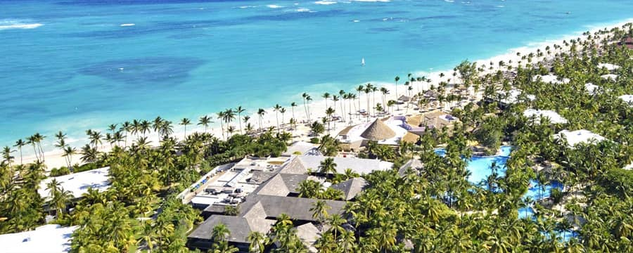 The Caribbean Sea and sandy beach at Paradisus Punta Cana in the Dominican Republic
