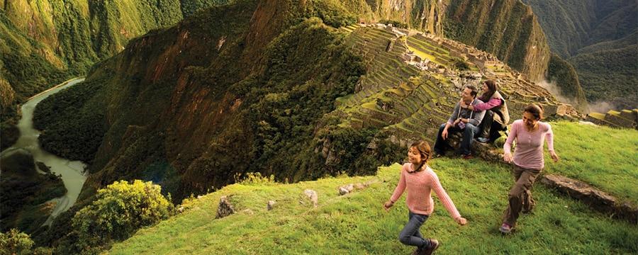 A family by Machu Picchu