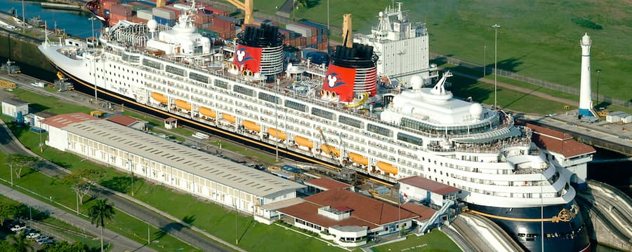 A Disney ship sailing through the Panama Canal