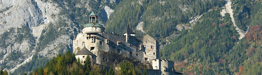 Hohenwerfen Castle, perched on a hilltop in Berchtesgaden, Germany