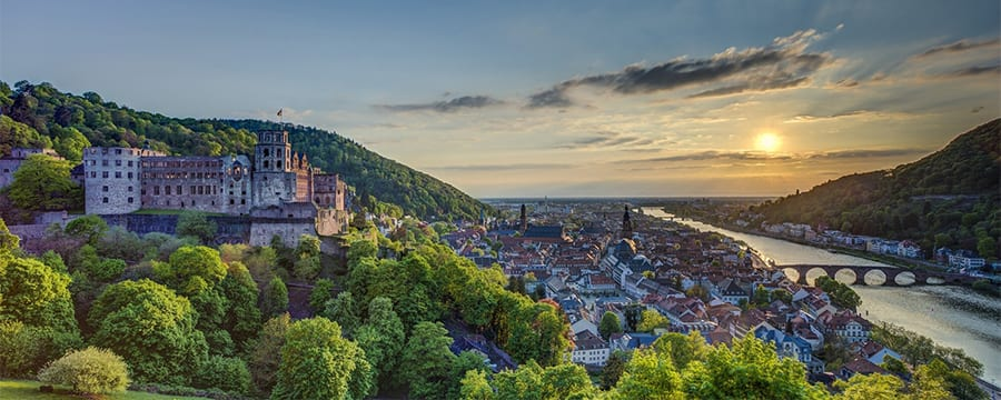 Heidelberg Castle looming over a hillside village
