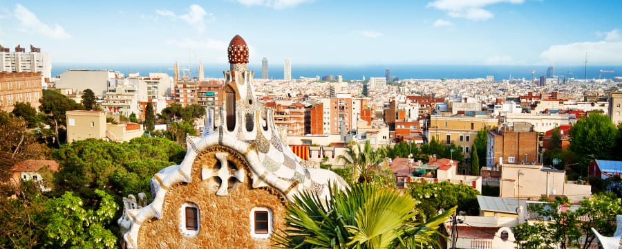 Gaudi's gingerbread style house rise from Park Güell in Barcelona