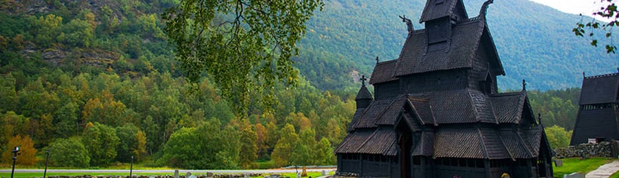 A stave church in the Norwegian countryside