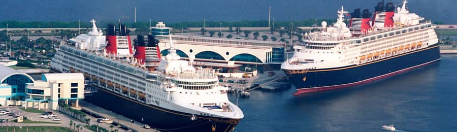 Two Disney ships in Port Canaveral, Florida
