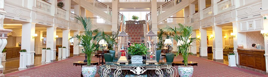 The lobby and grand staircase at Disneyland Hotel in Paris