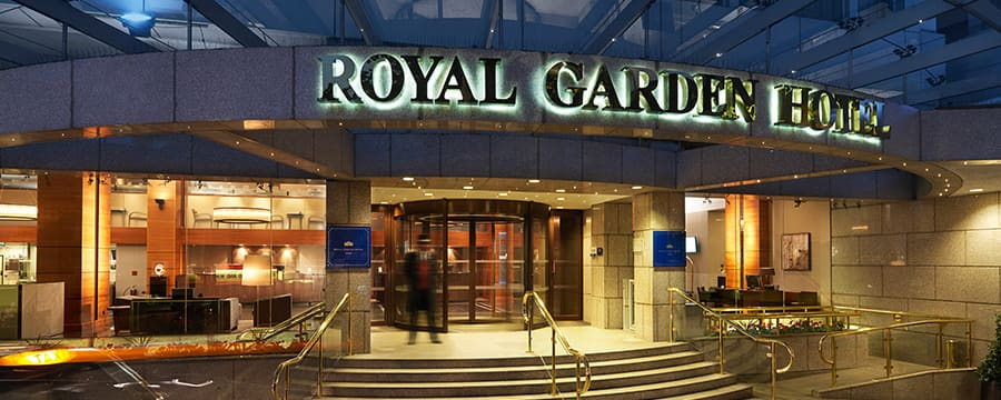 The entrance to Royal Garden Hotel in London