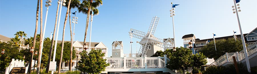 A windmill and bridge at Disney's Beach Club Resort in Florida