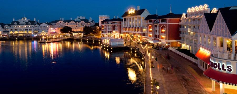 Disney's BoardWalk Inn and the surrounding BoardWalk area at night