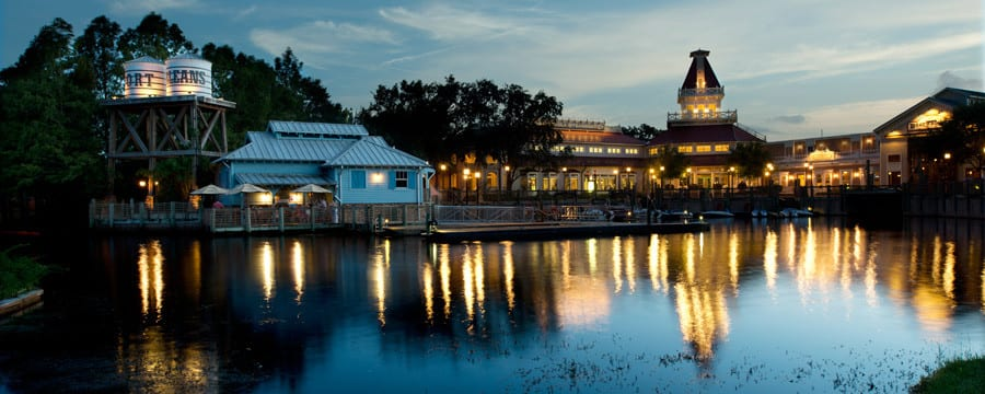 The building exterior and waterfront of Disney's Port Orleans Resort � Riverside in Florida