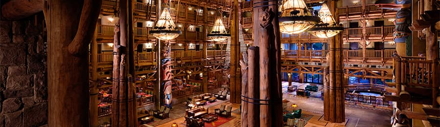The lobby at Disney's Wilderness Lodge in Florida