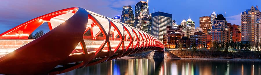 The Peace Bridge leading into downtown Calgary, Canada