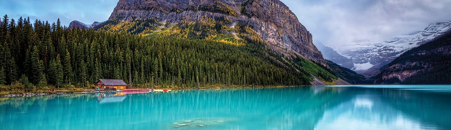 Lake Louise in Canada, surrounded by mountains