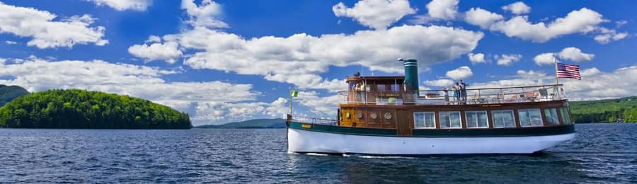 A classic boat on Lake George in New York