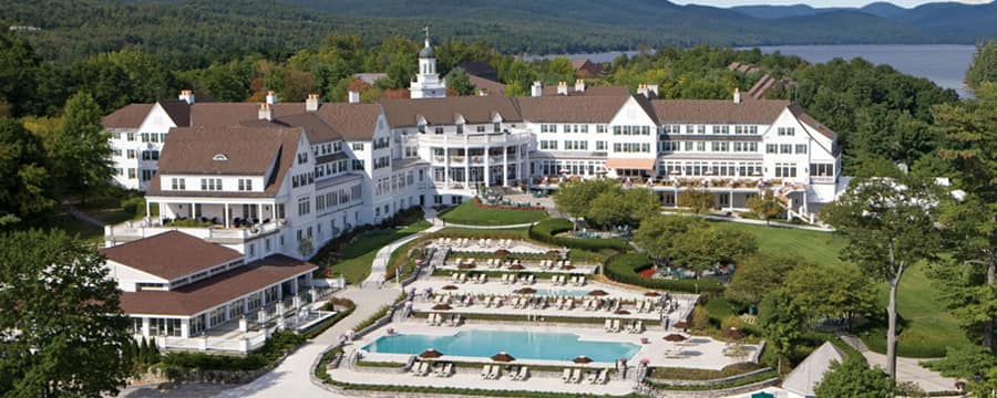 The outdoor pool area and resort grounds at The Sagamore Resort