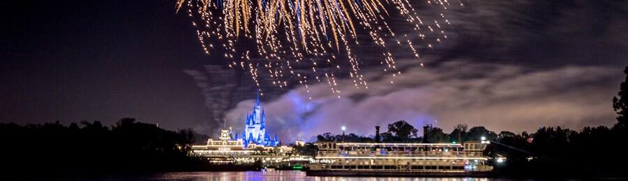 A fireworks display over Magic Kingdom park in Florida