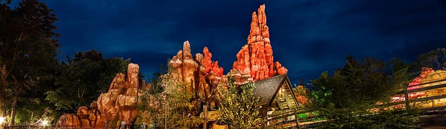 The Big Thunder Mountain Railroad attraction at Disneyland Park at night
