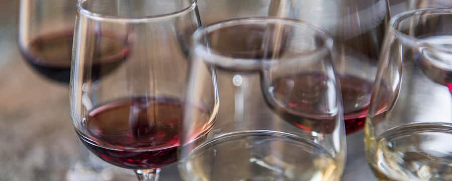 Several glasses of red and white wine