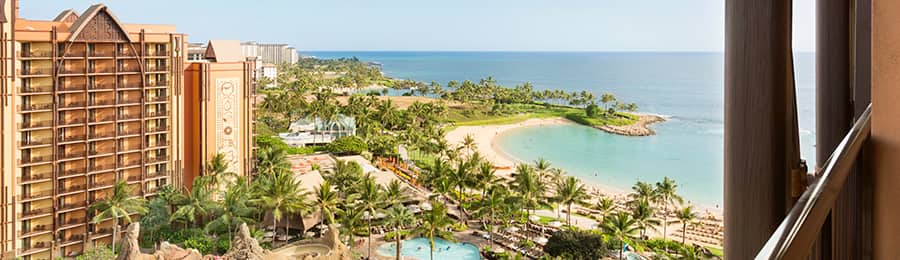 A balcony overlooking the pools and beach at Aulani