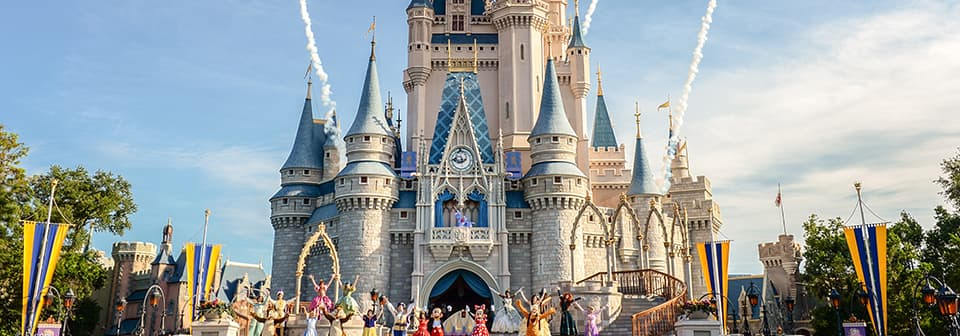 Disney Characters gathered in front of Cinderella Castle while fireworks burst in the sky