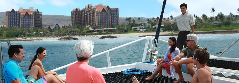 A group of Guests on a cruise by Aulani Resort