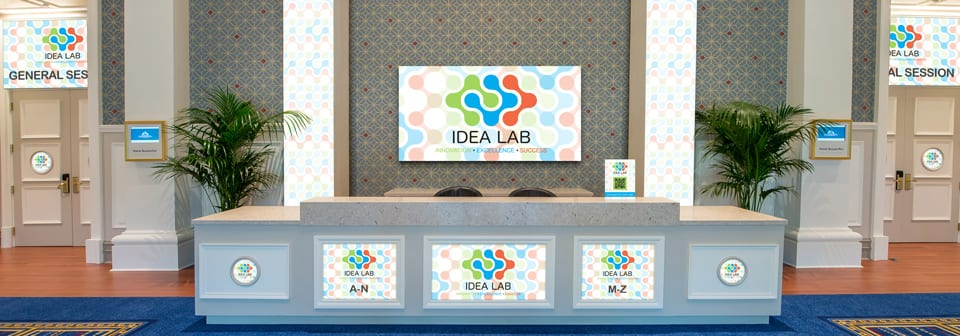 A lobby featuring the Idea Lab logo, with the words Innovation, Excellence and Success
