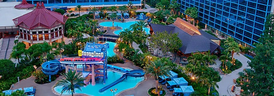 An aerial view of the swimming pools at the Disneyland hotel