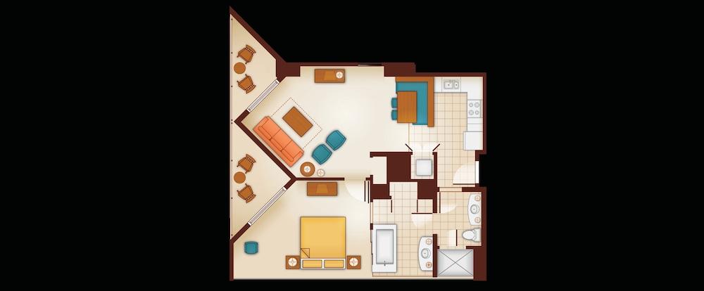 Floor Plan of a 1-Bedroom Villa. on