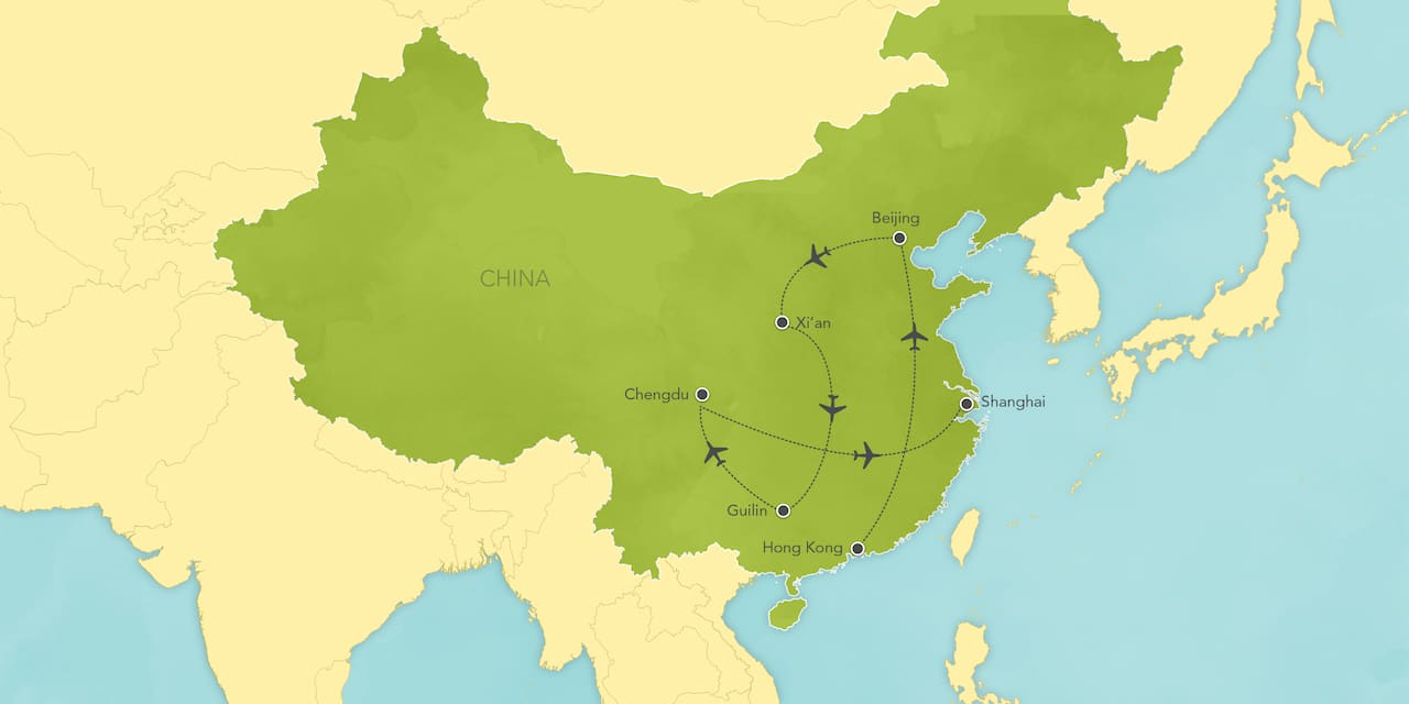 Interactive map of China, showing a summary of each day's activities.