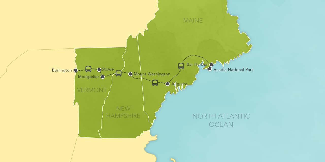 Interactive map of New England, showing a summary of each day's activities