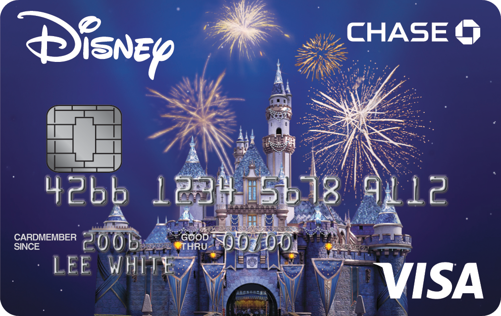 A Chase Disney Visa card with an image of fireworks bursting above Sleeping Beauty Castle and the name Lee White