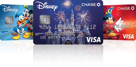 An array of Chase Disney Visa cards