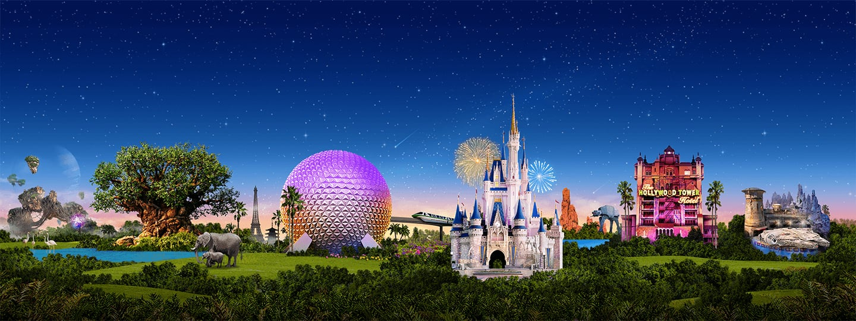 Landmarks from each of Walt Disney World Resort's 4 parks light up against the night sky