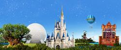 A hot air balloon passes Disneys Animal Kingdom, Epcot, Magic Kingdom Park and Disneys Hollywood Studios