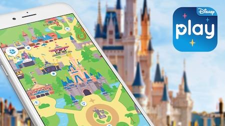 L'écran d'un iPhone présentant une planche de jeu animée du parc Magic Kingdom de l'application Play Disney Parks