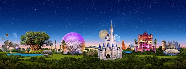 A panorama featuring Walt Disney World attractions including the Tree of Life, Spaceship Earth, Cinderella Castle, Hollywood Tower of Terror and the Millennium Falcon with a nighttime sky background